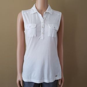 Tommy Hilfiger white collared tank top size small